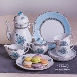 Coffee Set for 2 Persons - Herend Chinese Bouquet Turquoise / Apponyi ATQ3-PT pattern. Herend fine china hand painted. Tableware