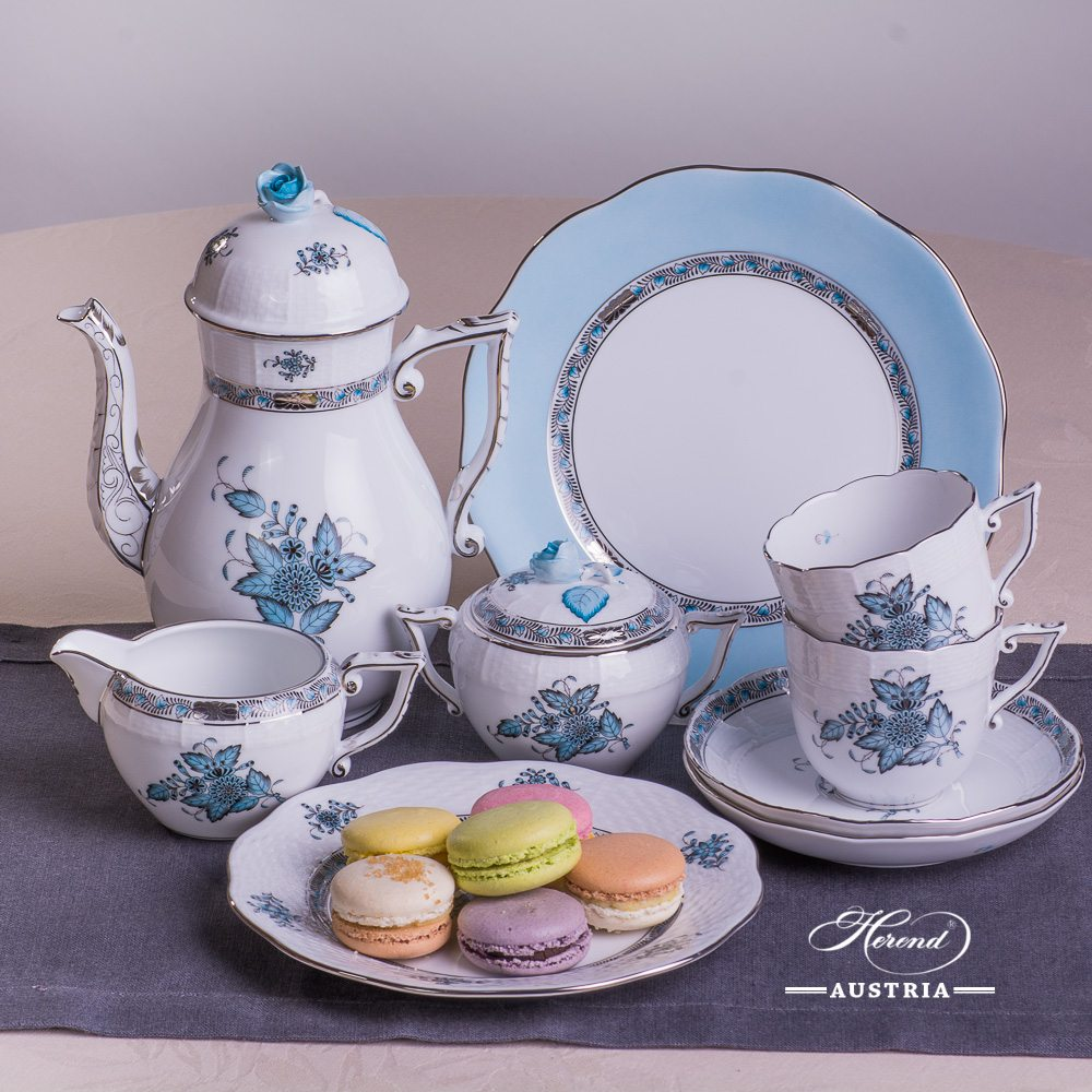 Apponyi Turquoise - ATQ3-PT Essential - Coffee Set for 2 Persons - Herend Porcelain