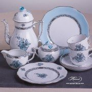 Apponyi Turquoise 706-0-00 ATQ3-PT Coffee Set Herend porcelain
