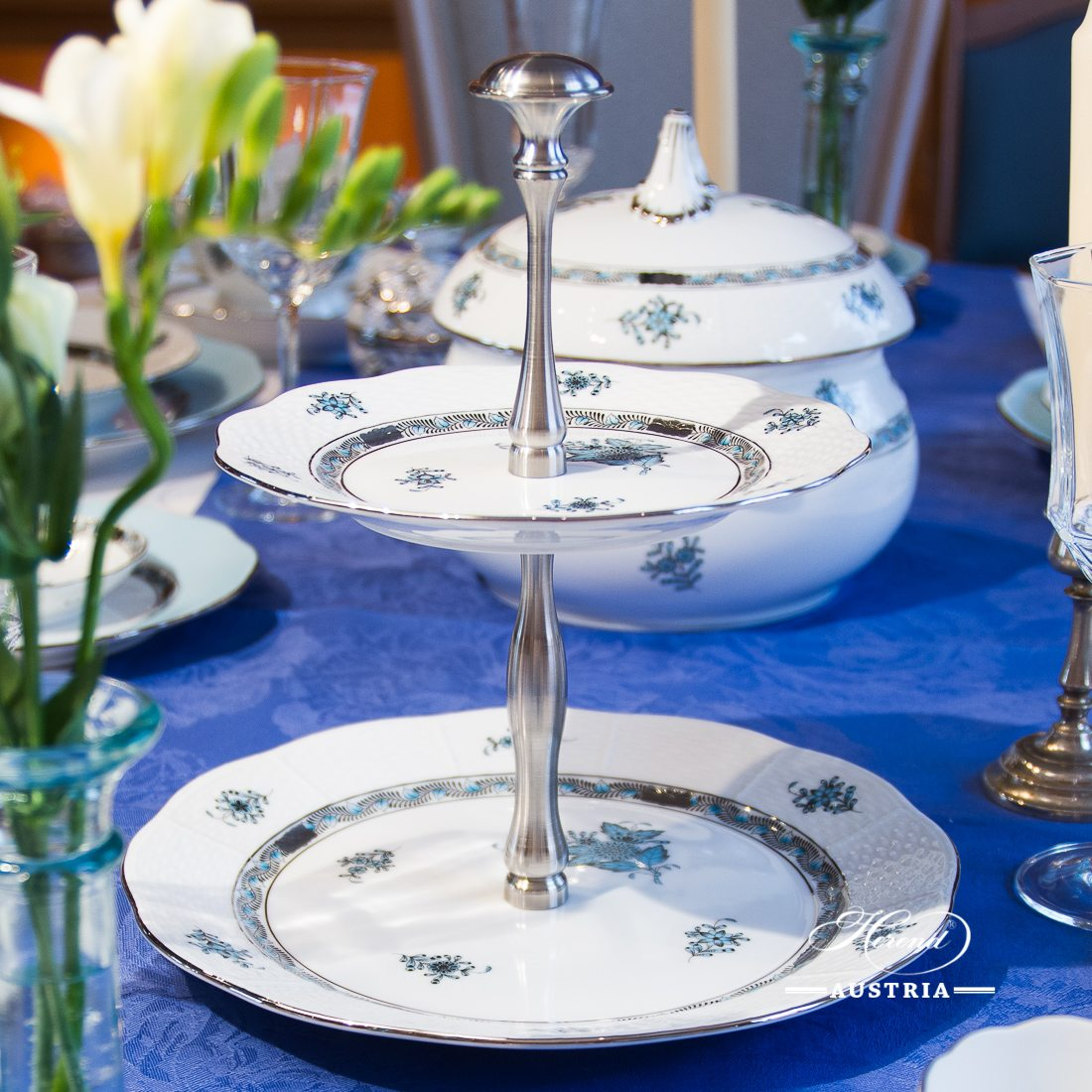 Cake Stand with 2 Tier 308-0-91 ATQ3-PT Chinese Bouquet Turquoise / Apponyi ATQ3-PT pattern. Turquoise w. Platinum design. Herend fine china. Hand painted tableware