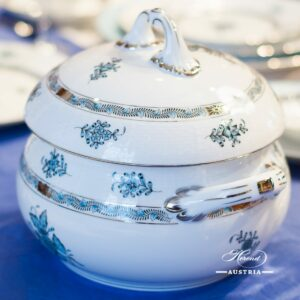 Apponyi Turquoise 22-0-07 ATQ3-PT Soup Tureen with Strap Knob Herend porcelain