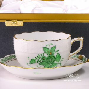 Apponyi Green - Tea Cup for 2 Persons 724-0-00 AV - Herend Fine china in Gift Box