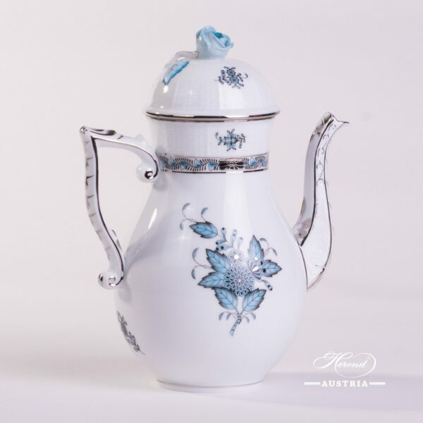 Coffee Pot w. Rose Knob 613-0-09 ATQ3-PT Chinese Bouquet Turquoise / Apponyi ATQ3-PTpattern. Turquoisew. Platinum design. Herend fine china. Hand painted tableware