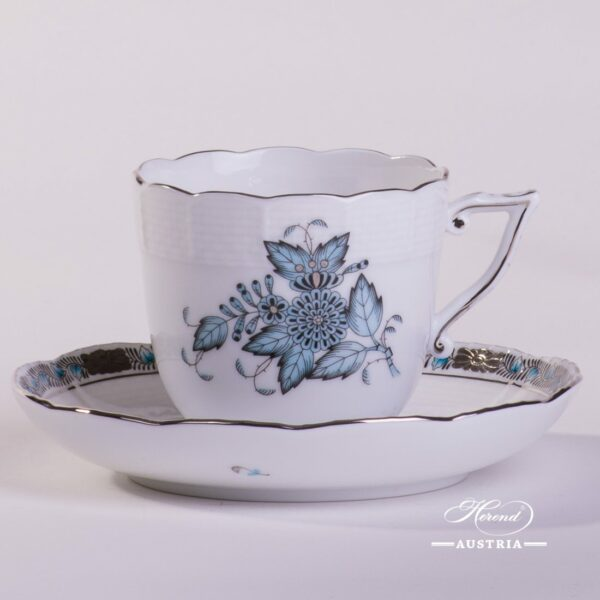 Coffee Cup and Saucer 706-0-00 ATQ3-PT Chinese Bouquet Turquoise / Apponyi ATQ3-PTpattern. Turquoisew. Platinum design. Herend fine china. Hand painted tableware