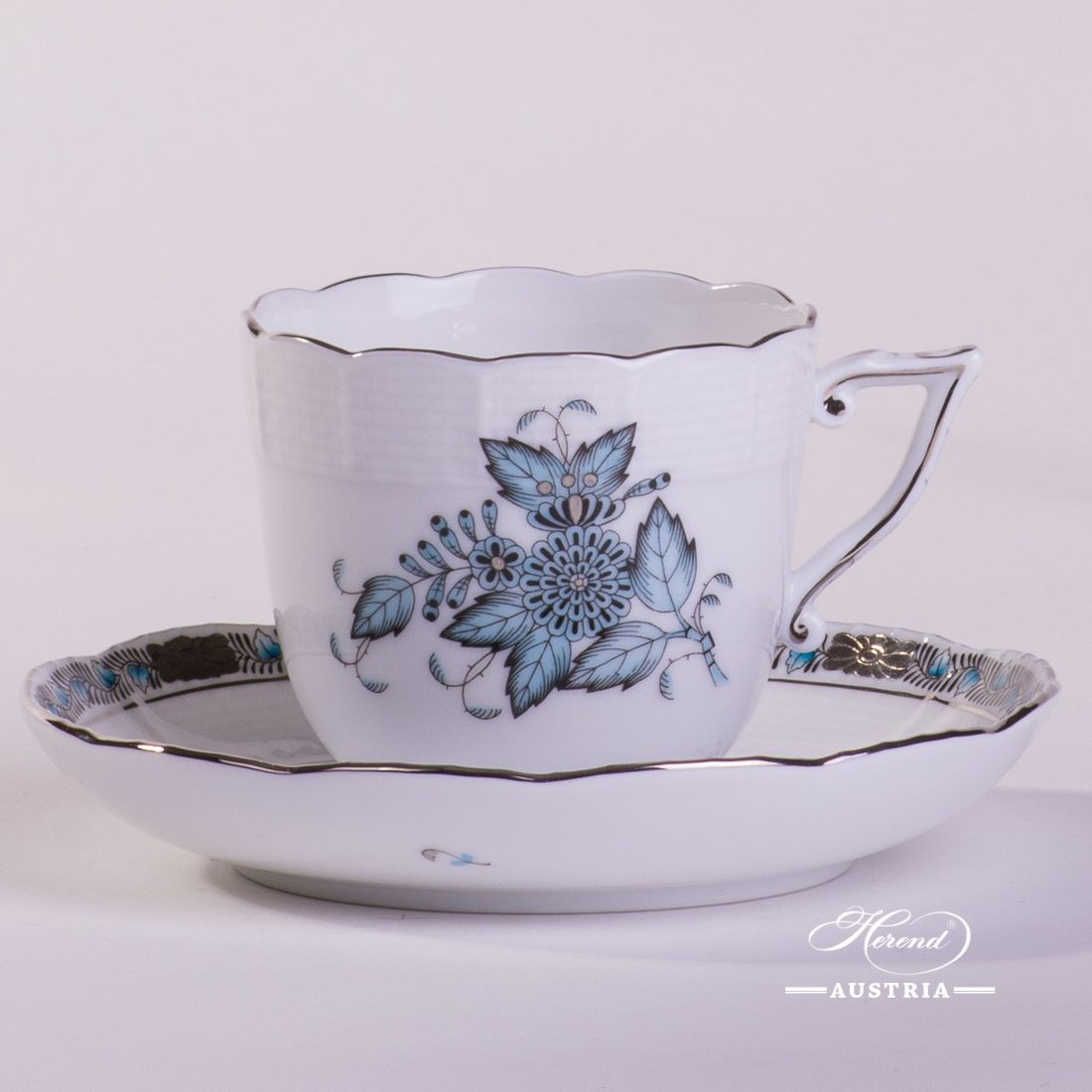 Coffee Cup and Saucer 706-0-00 ATQ3-PT Chinese Bouquet Turquoise / Apponyi ATQ3-PT pattern. Turquoise w. Platinum design. Herend fine china. Hand painted tableware