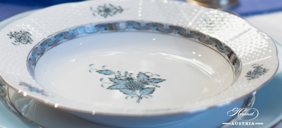 Apponyi Turquoise-ATQ3-PT Soup Plate - Herend Porcelain