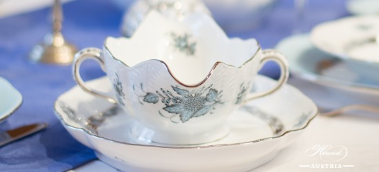 Apponyi Turquoise-ATQ3-PT Sauce Boat - Herend Porcelain