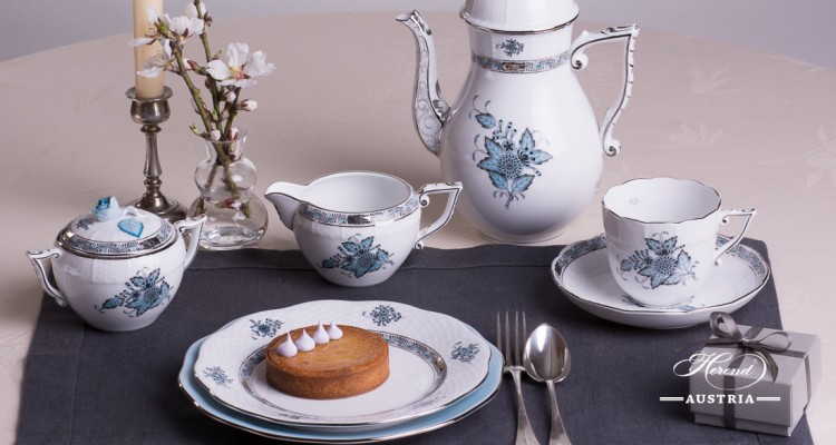Apponyi Turquoise-ATQ3-PT Coffee or Cappuccino Set