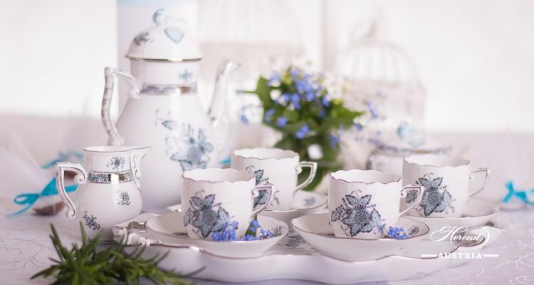 Apponyi Turquoise-ATQ3-PT Mocha Set - Herend Porcelain
