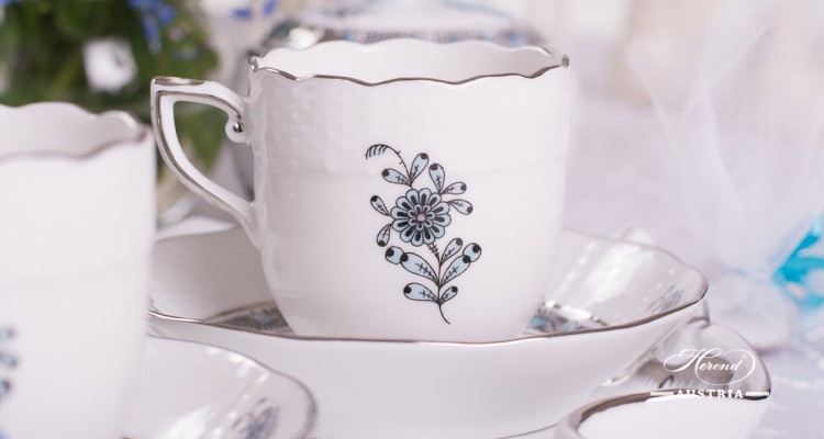 Coffee / Espresso Cup and Saucer 709-0-00 ATQ3-PT Chinese Bouquet Turquoise / Apponyi ATQ3-PT pattern. Demitasse. Turquoise w. Platinum design. Herend fine china. Hand painted tableware