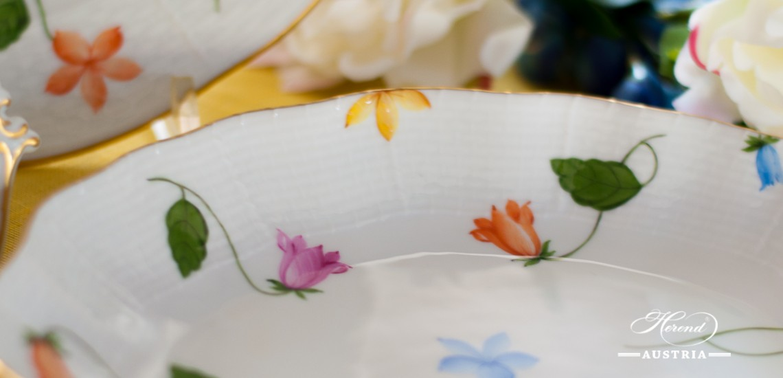 Bluebell Coloured-CMUC Oval Dish - Herend Porcelain