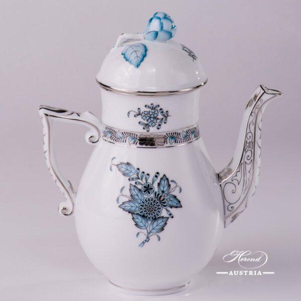 Coffee / Espresso Pot w. Bud Knob 615-0-12 ATQ3-PT Chinese Bouquet Turquoise / Apponyi ATQ3-PTpattern. Turquoisew. Platinum design. Herend fine china. Hand painted tableware