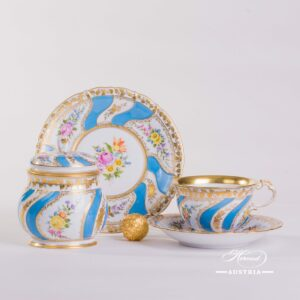 Colette Pattern Tea Cup and Dessert Plate with Sugar Basin-Herend Porcelain