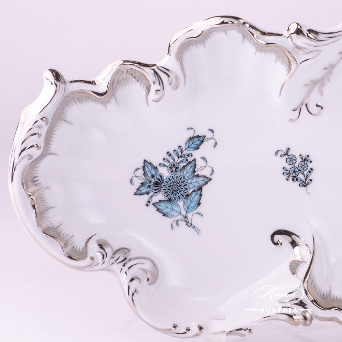 Dish Rococo 7517-0-00 ATQ3-PTChinese Bouquet Turquoise / Apponyi ATQ3-PTpattern. Turquoisew. Platinum design. Herend fine china. Hand painted tableware