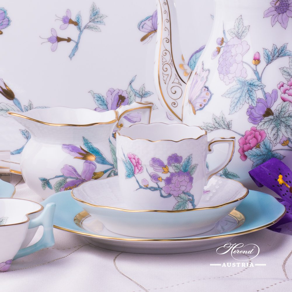 Royal Garden Turquoise-EVICT2 Coffee-Set for 2 Persons - Herend Porcelain