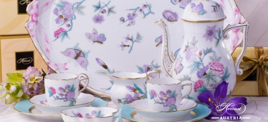 Coffee / Espresso Set for 2 Persons - Herend Royal Garden Turquoise EVICT2 and EVICTF2 patterns. Herend fine china hand painted. Tableware
