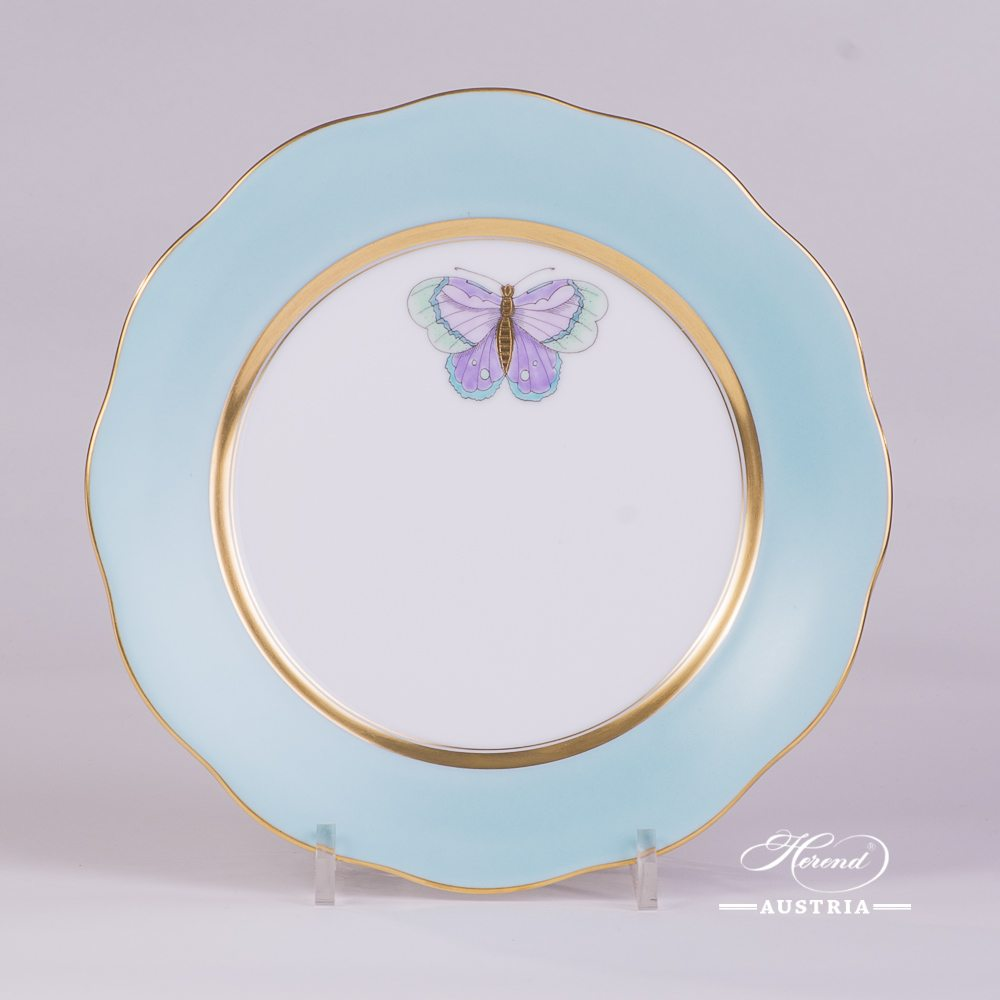 Dessert Plate w. Butterfly 20517-0-00 XCTQ1 Royal Garden Turquoise Edge pattern. Herend Turquoise Monochrome Edge design w. Butterfly. Fine china and hand painted. Tableware