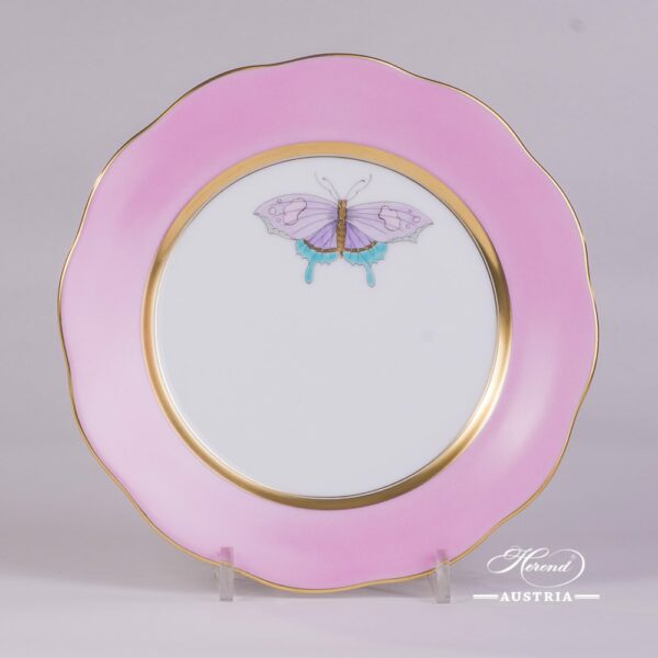 Dessert Plate w. Butterfly 20517-0-00 XCP6 Royal Garden Pink Edgepattern. Herend PinkMonochrome Edge design w. Butterfly. Fine chinaand hand painted. Tableware