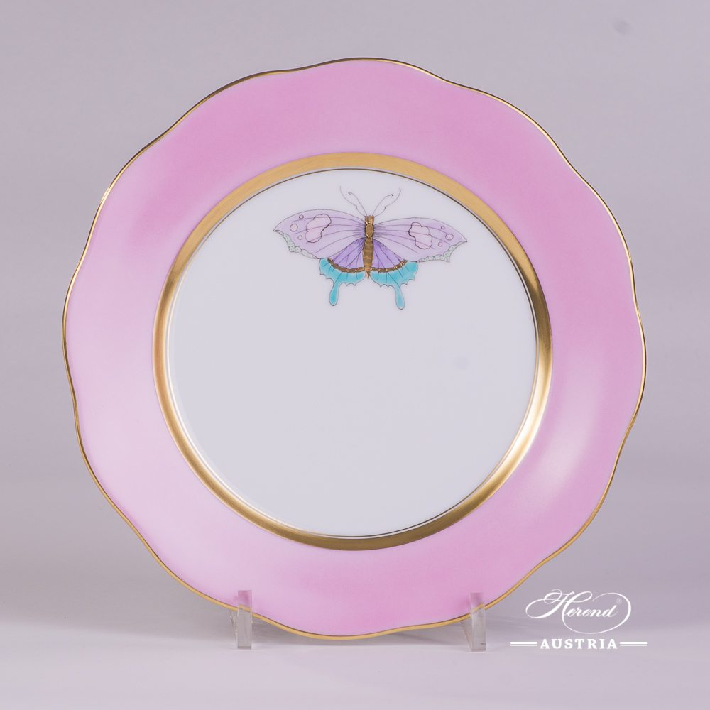 Dessert Plate w. Butterfly 20517-0-00 XCP6 Royal Garden Pink Edge pattern. Herend Pink Monochrome Edge design w. Butterfly. Fine china and hand painted. Tableware