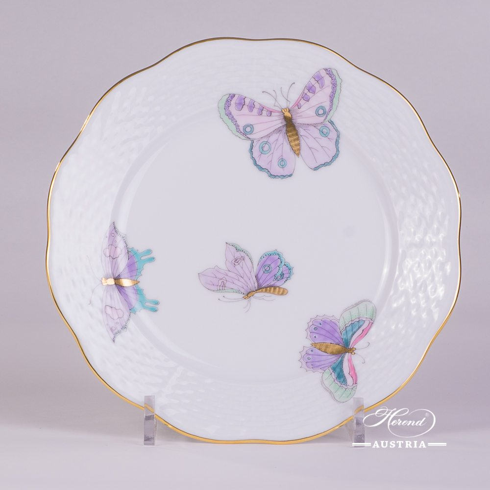Dessert Plate 517-0-00 EVICTP2 Royal Garden Turquoise Butterfly pattern. Herend fine china hand painted. Tableware