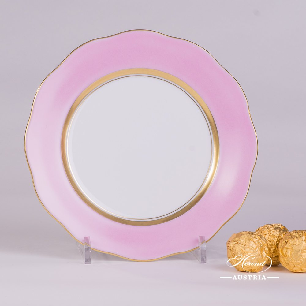 Dessert Plate 20517-0-00 CP6 Royal Garden Pink Edge  pattern. Herend Pink Monochrome Edge design. Fine china  and hand painted. Tableware