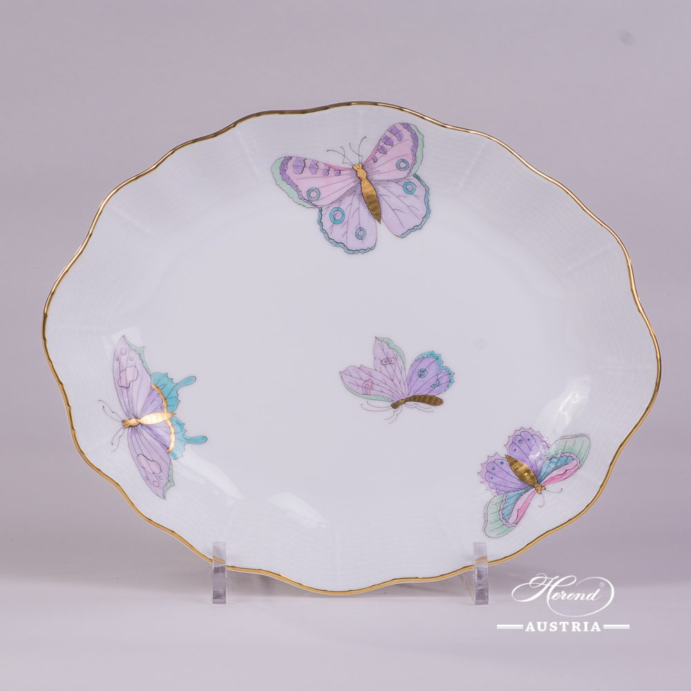 Oval Dish 212-0-00 EVICTP2 Royal Garden Turquoise Butterfly pattern. Herend fine china hand painted. Tableware