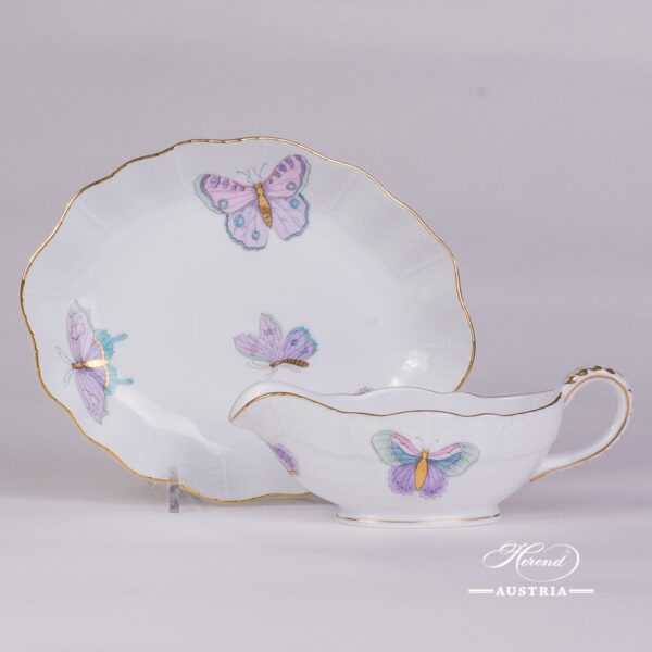 Royal Garden-Turquoise 218-0-00 EVICTP2 Sauce Boat with 212-0-00 EVICTP2 Oval Dish Herend porcelain