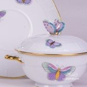 Royal Garden-Turquoise 740-0-17 EVICTP2 Soup Cup and Lid with Saucer Herend porcelain