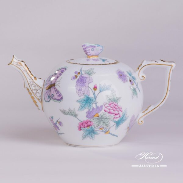 Tea Pot w. Butterfly Knob 605-0-17 EVICT2 Royal Garden Turquoise Flower and Butterfly pattern. Herend fine china hand painted. Tableware
