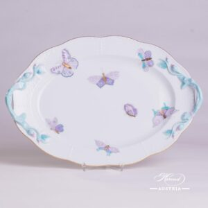 Royal Garden-Turquoise 123-0-00 EVICTP2 Oval Dish with handle Herend porcelain