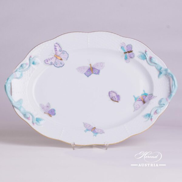 Oval Dish with Handle123-0-00 EVICTP2 Royal Garden Turquoise Butterfly pattern. Herend fine chinahand painted. Tableware