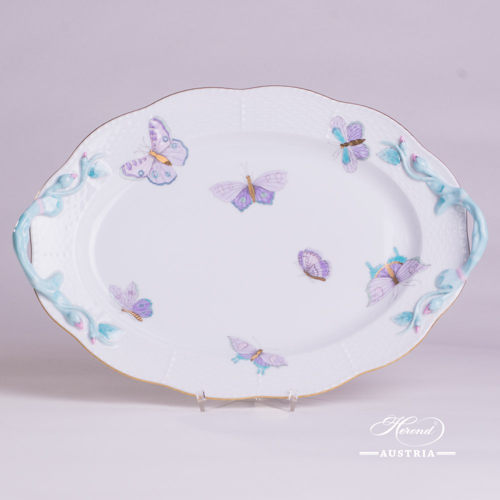 Oval Dish with Handle 123-0-00 EVICTP2 Royal Garden Turquoise Butterfly pattern. Herend fine china hand painted. Tableware