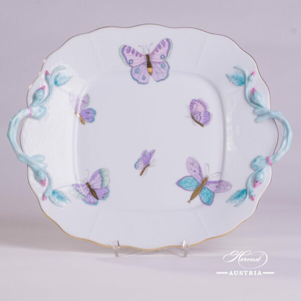 Cake Plate with Handle430-0-00 EVICTP2 Royal Garden Turquoise Butterfly pattern. Herend fine chinahand painted. Tableware