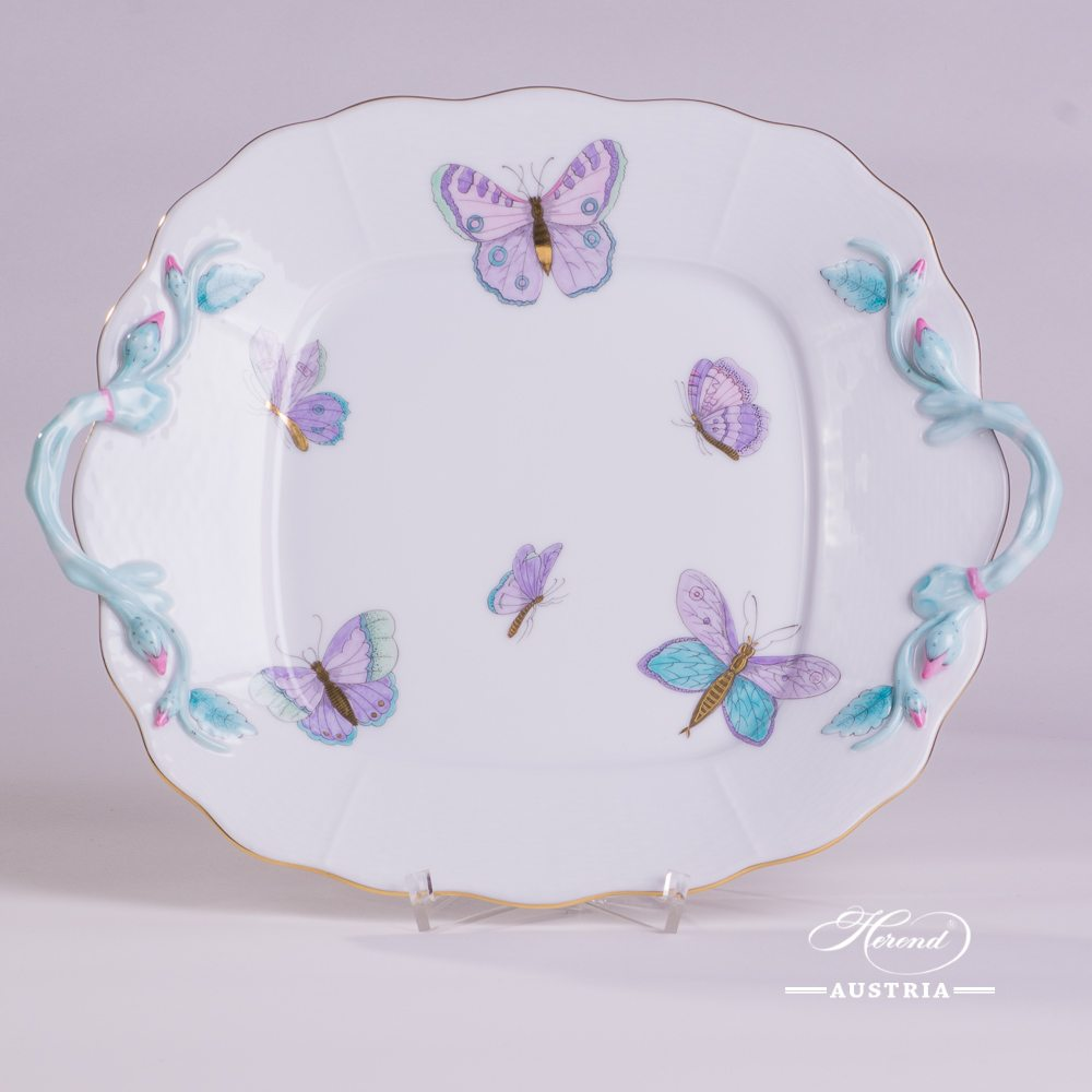 Cake Plate with Handle 430-0-00 EVICTP2 Royal Garden Turquoise Butterfly pattern. Herend fine china hand painted. Tableware