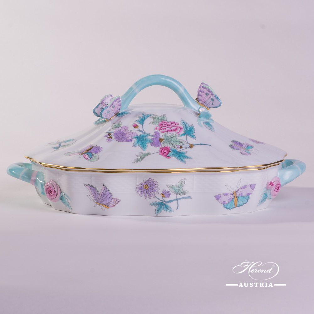 Vegetable Dish with Butterfly Knob 51-0-17 EVICT2 Royal Garden Turquoise Flower and Butterfly pattern. Herend fine china hand painted. Tableware