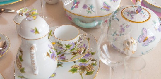 Royal Garden Green EVICT1 and Turquoise EVICT2 patterns - Herend fine china