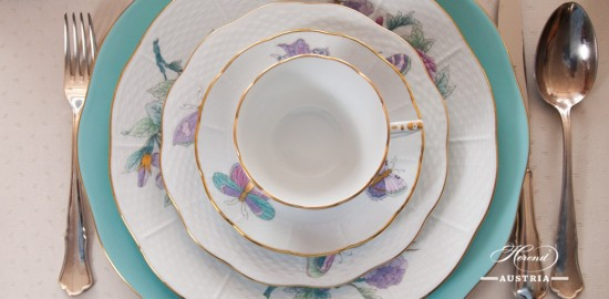 Dinner Set for 6 Persons - Herend Royal Garden Turquoise Flower with Butterfly patterns. Herend fine china and hand painted tableware