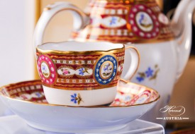 Coffee Cup - Herend Porcelain, fine china with Silk Brocade-EGAVT also known as Eglantine Variete motif