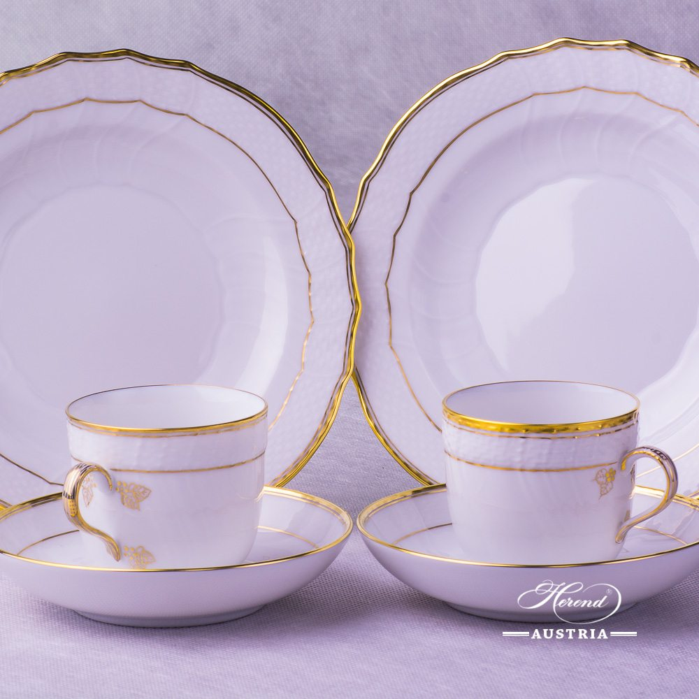 Hadik Coffee Cup 1707-0-00 HD and Dessert Plate 1518-0-00 HD Herend porcelain