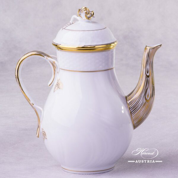 Hadik Coffee Pot with Rose knob 1614-0-09 HD Herend porcelain