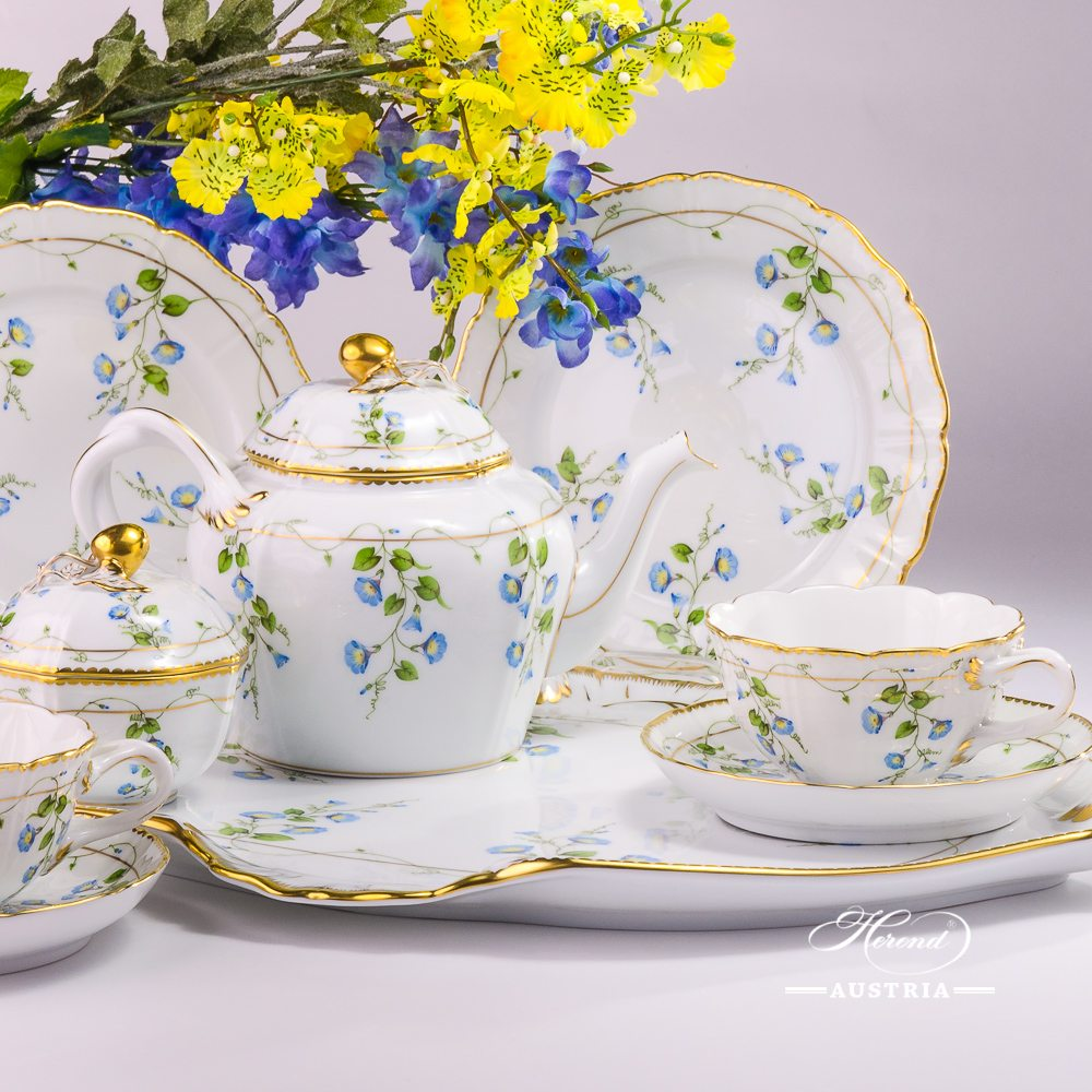 Special Tea Set for 2 Persons - Herend Nyon / Morning Glory design. Herend porcelain. Hand painted tableware. Unique porcelain shape (form)
