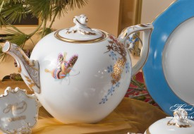 Butterfly and Bamboo-PABA Tea Pot and Dessert Plate - Herend Porcelain