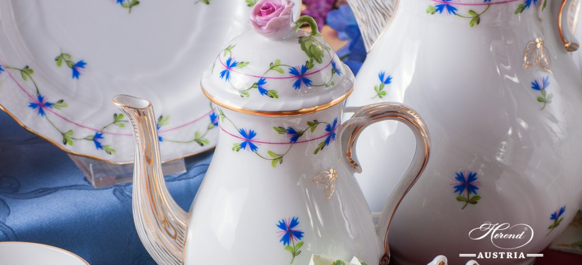 Cornflower Garland-PBG  Coffee Set - Herend Porcelain