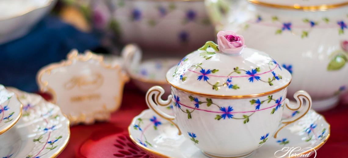 Cornflower Garland-PBG Soup Cup - Herend Porcelain