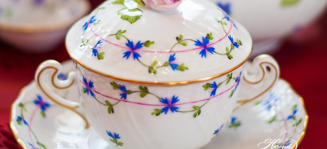 Cornflower Garland-PBG Soup Cup - Herend Porcelain