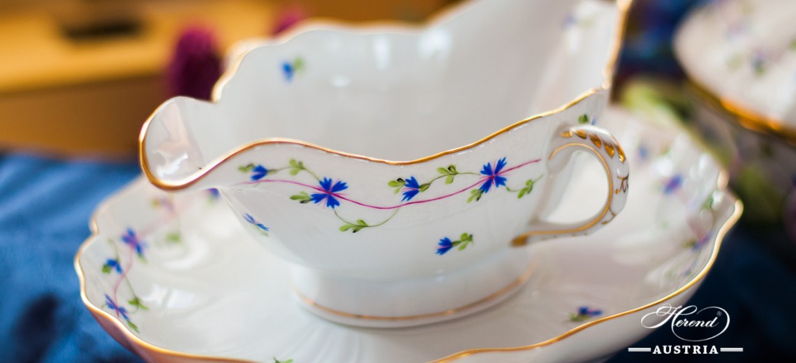 Cornflower Garland-PBG Sauce Boat - Herend Porcelain