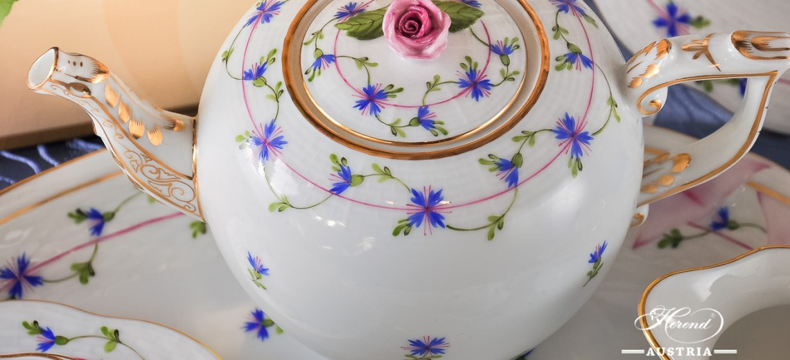 Cornflower Garland-PBG Tea Pot - Herend Porcelain