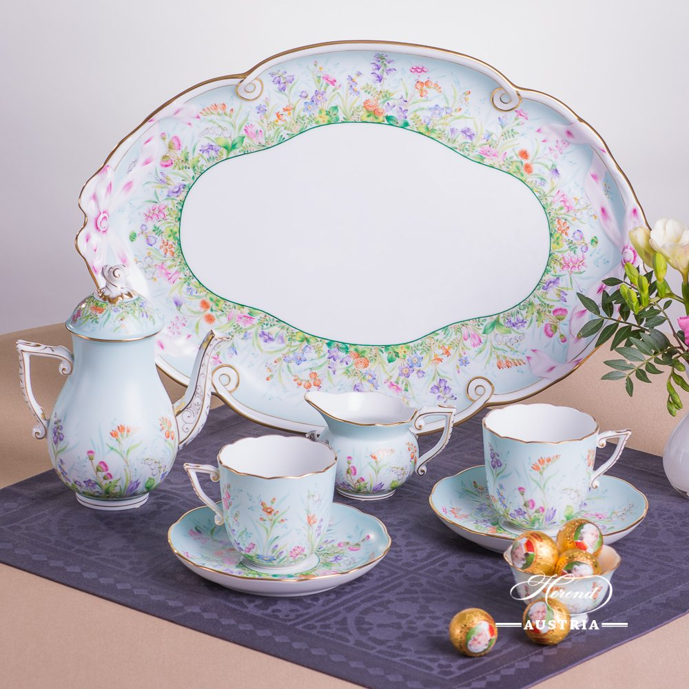 Coffee Set for 2 Persons - Herend Four Seasons QS pattern. Herend fine china hand painted. Four Seasons QS (Quatre Saisons) design. Tableware