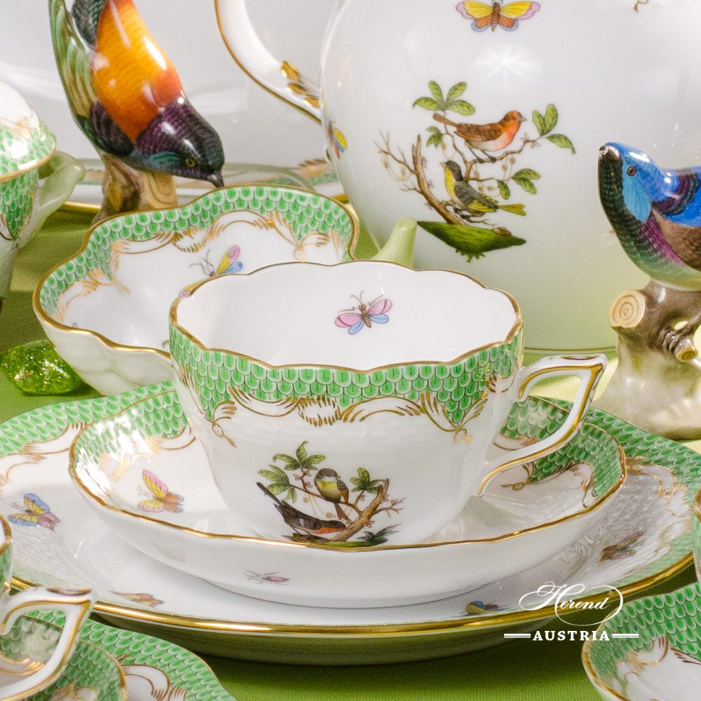 Rothschild Bird Green Fish Scale - Tea Set