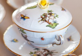 Couple of Birds-Rothschild Soup Cup wit Lid - Herend Porcelain